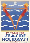 Seaside Holidays by train, vintage tourism poster